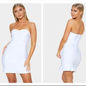 Presli White Bandage Frill Hem Bodycon Dress PLT